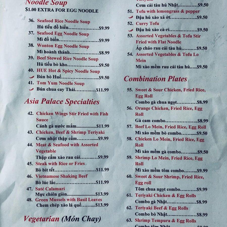 Asia Palace 2 menu - soup, specialties, combos