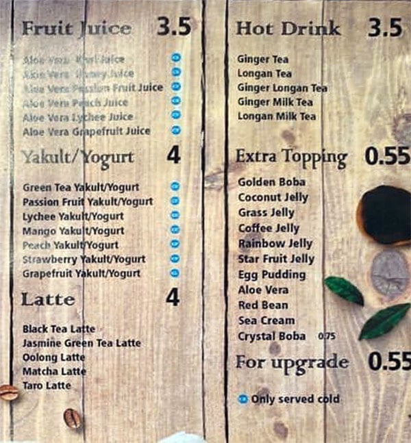 Ding Tea menu - fruit juice, yogurt, latte, hot drink, toppings