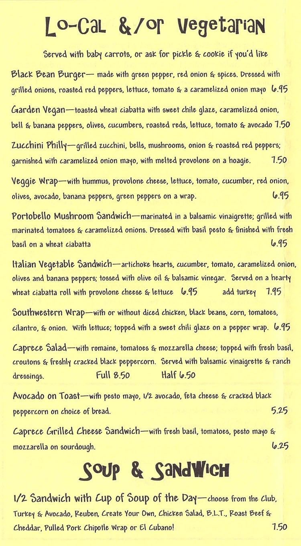 Knickerbockers Deli menu - lo cal, vegetarian, soup, salad