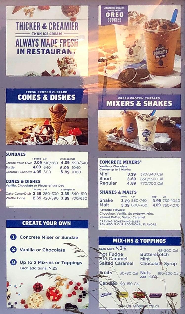 Culver's menu - cones, mixers, shakes