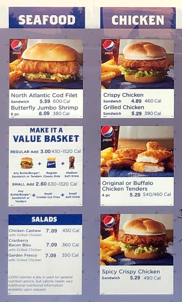 Culver's menu - seafood, chicken