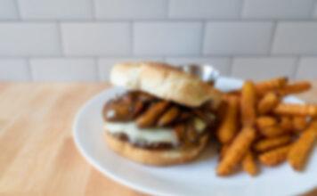 Generic mushroom and swiss burger