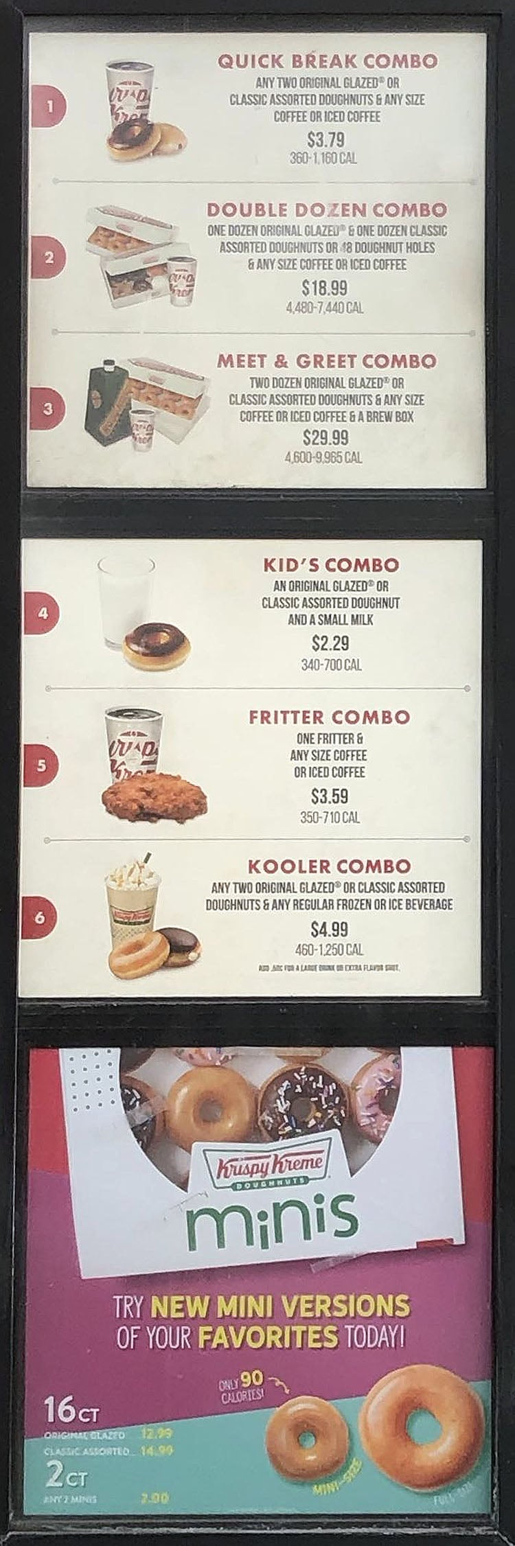 Krispy Kreme menu - combos