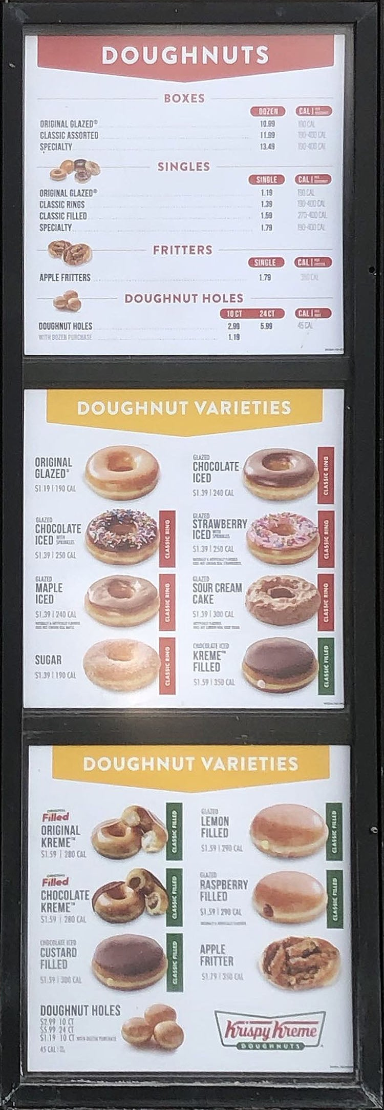 Krispy Kreme menu - doughnuts, doughnut varieties