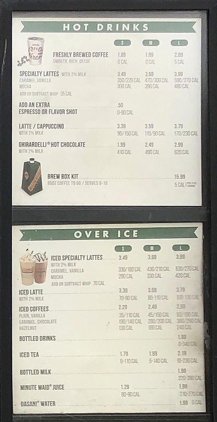 Krispy Kreme menu - drinks