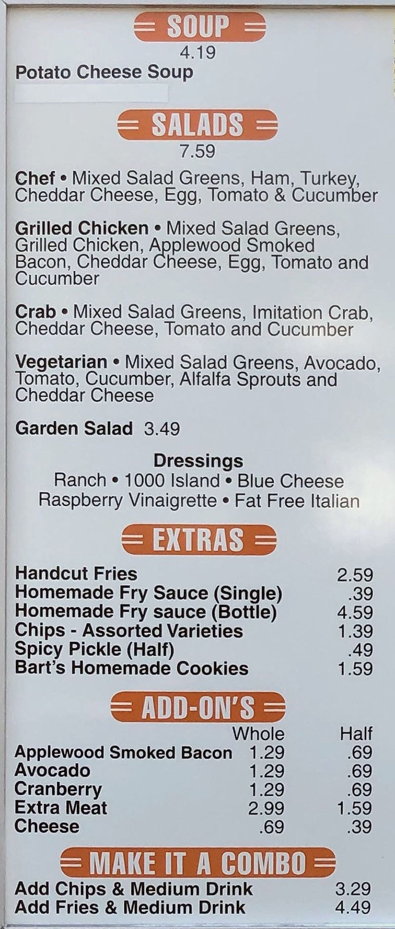 Riley's Sandwiches menu - soup, salads, extras, add ons, combo