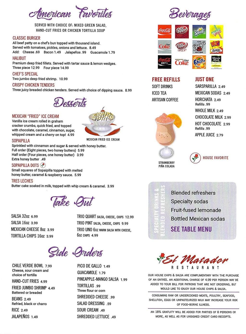El Matador menu - American, desserts, drinks, sides