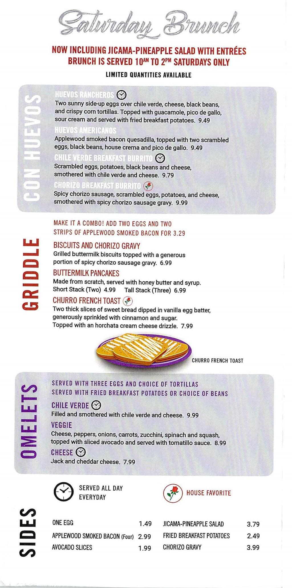 El Matador menu - Saturday brunch