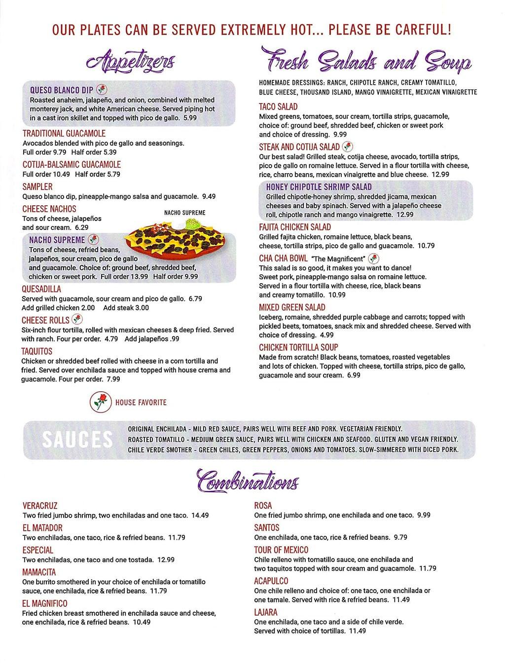 El Matador menu - appetizers, soups, salads, combinations