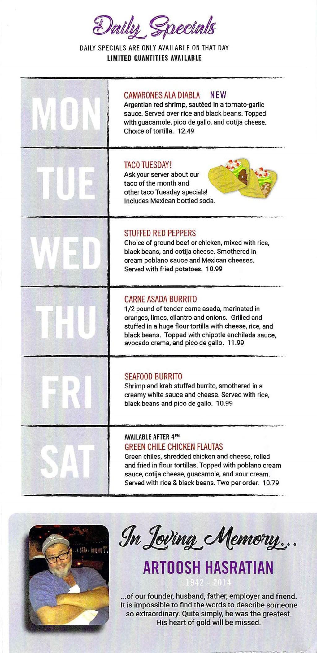 El Matador menu - daily specials