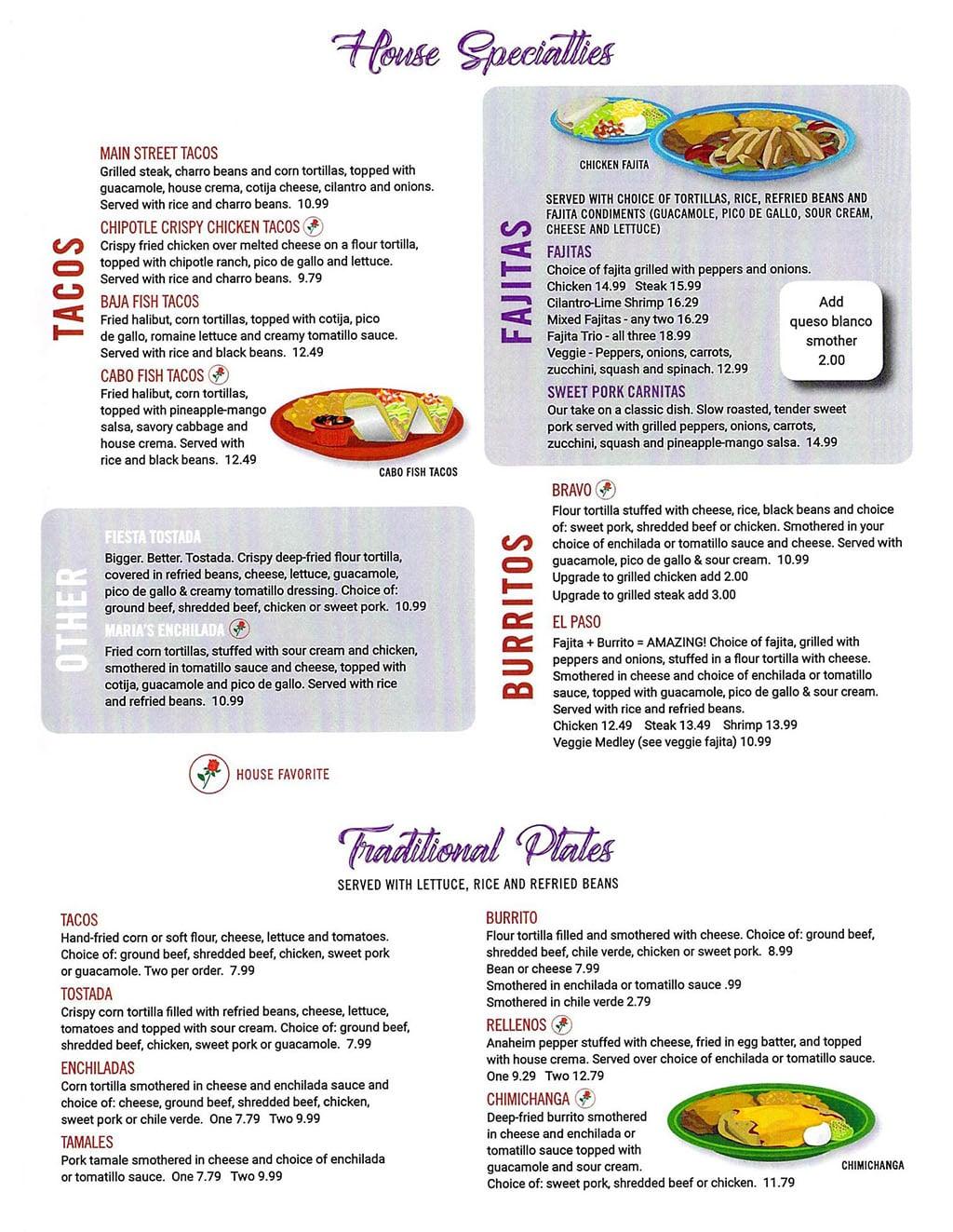 El Matador menu - house specialties, traditional plates