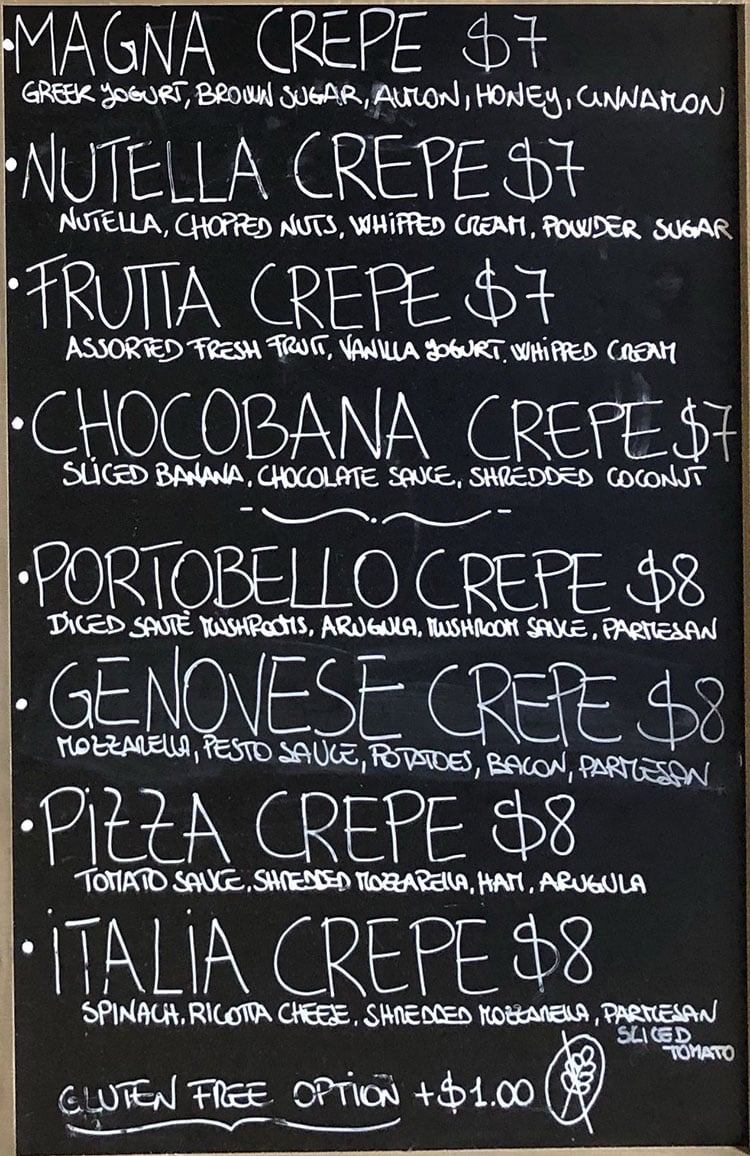 Sapori Italian Bakery And Cafe menu - crepes