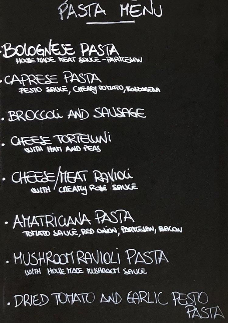 Sapori Italian Bakery And Cafe menu - pasta