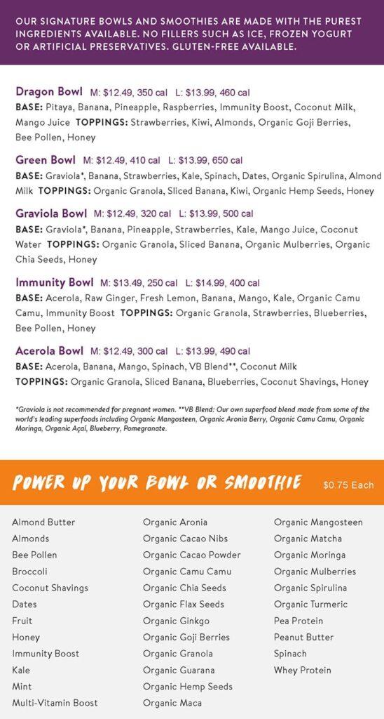 Vitality Bowls menu - acai bowls continued