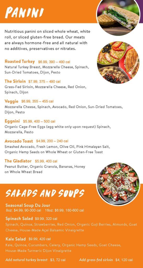Vitality Bowls menu - panini, salads, soups