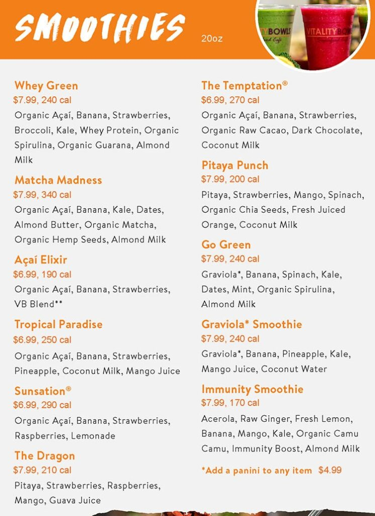 Vitality Bowls menu - smoothies