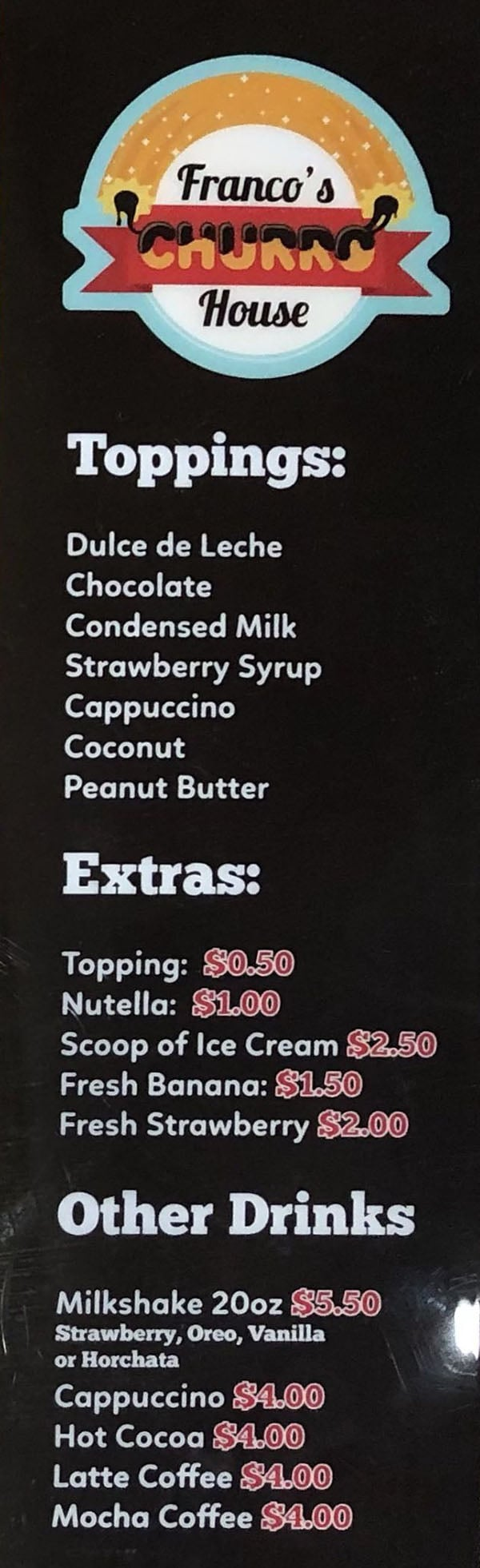 Franco's Churro House menu - page three