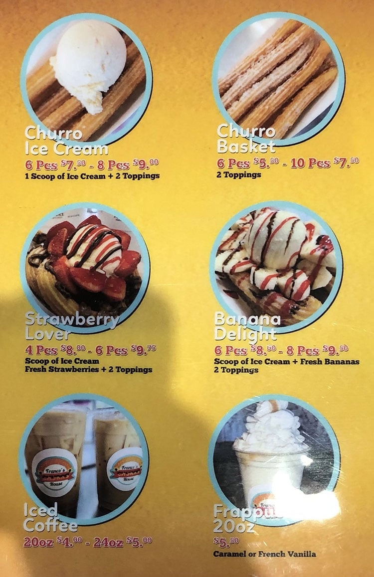 Franco's Churro House menu