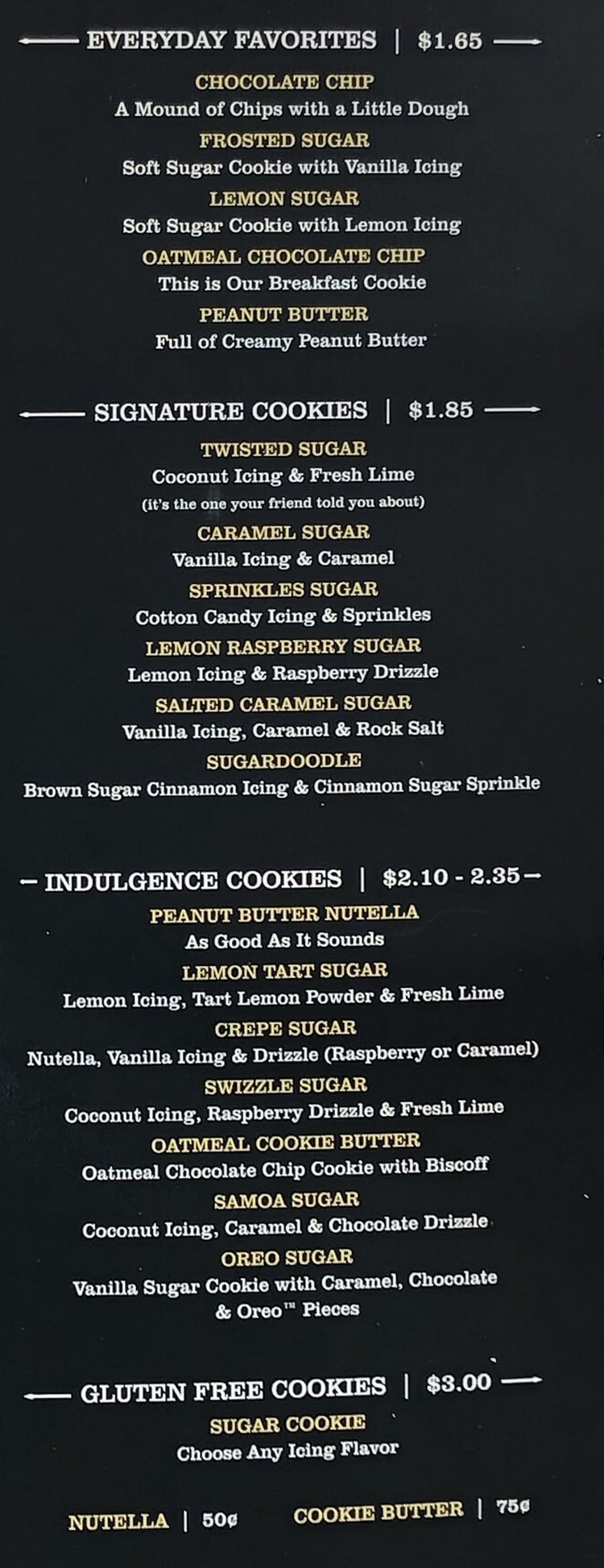 Twisted Sugar menu - page four
