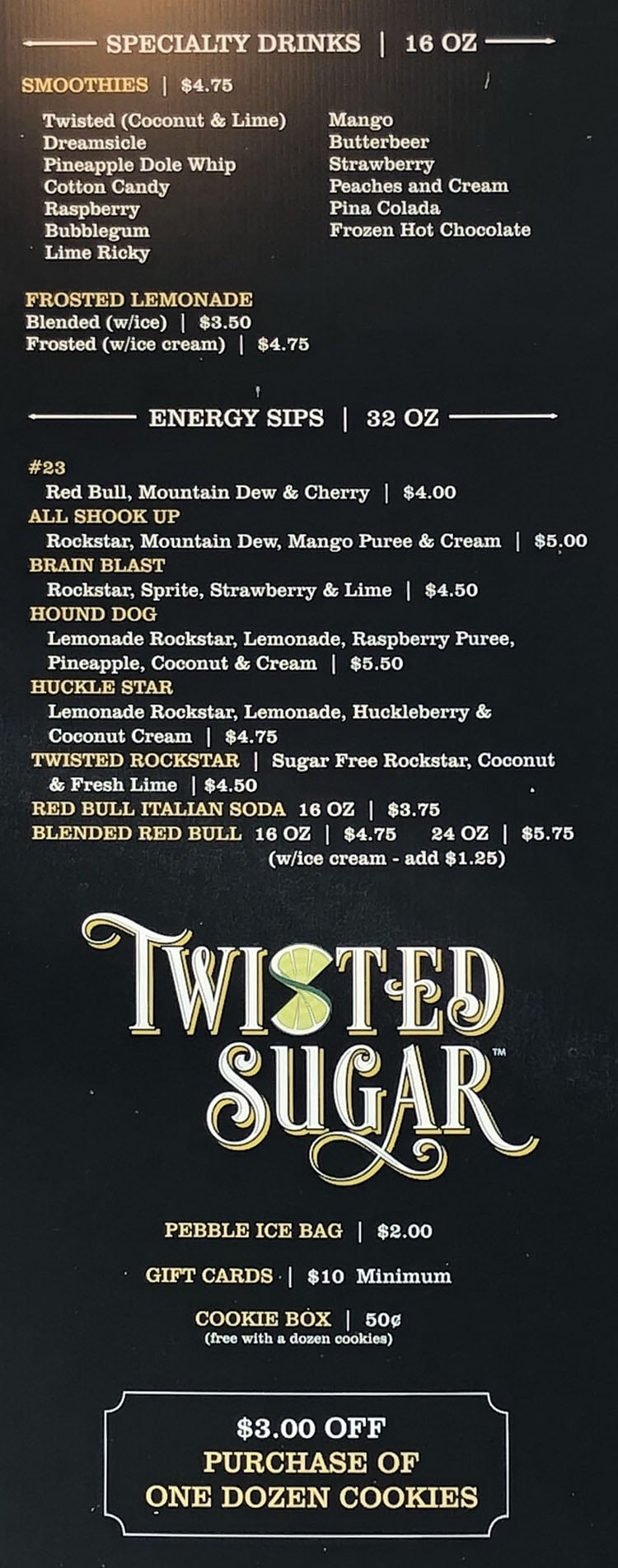 Twisted Sugar menu - page three