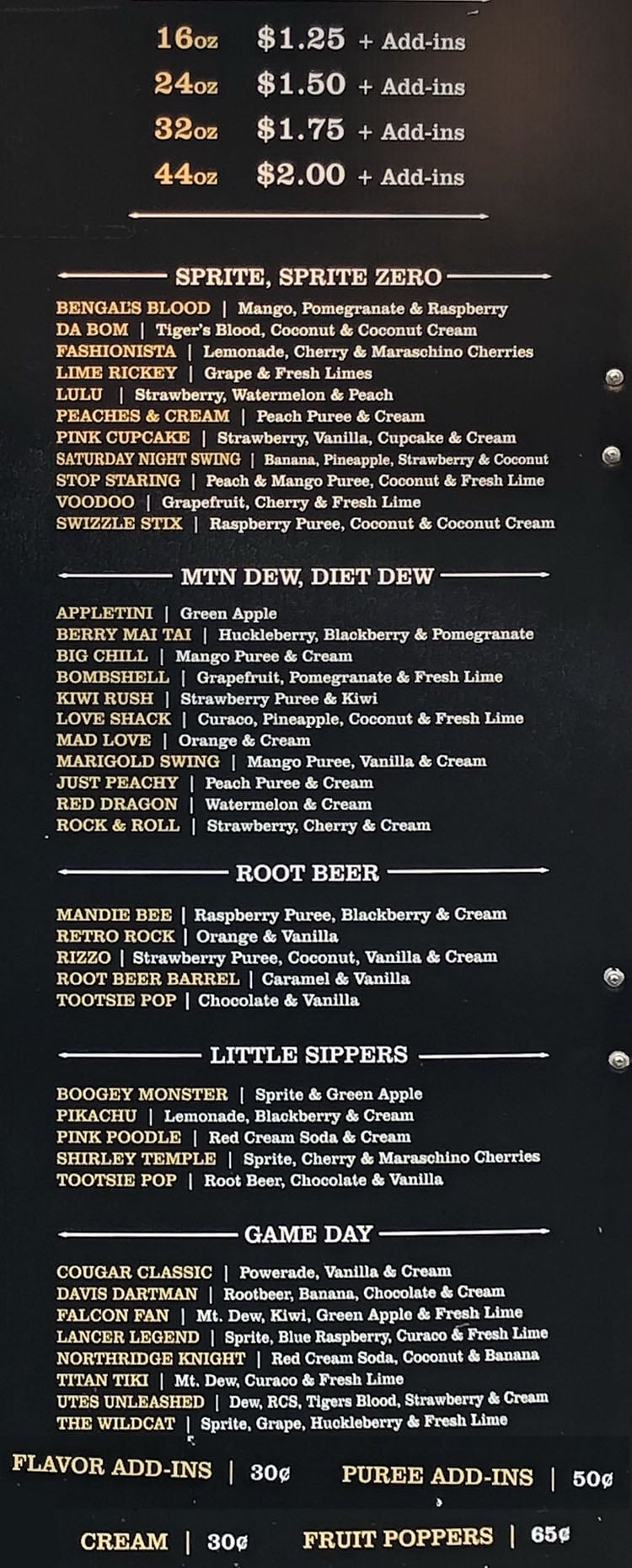 Twisted Sugar menu - page two