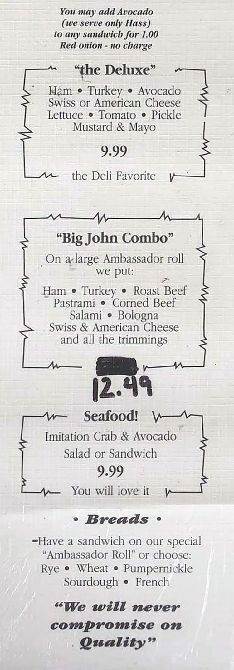 Grove Market & Deli menu - sandwiches, breads
