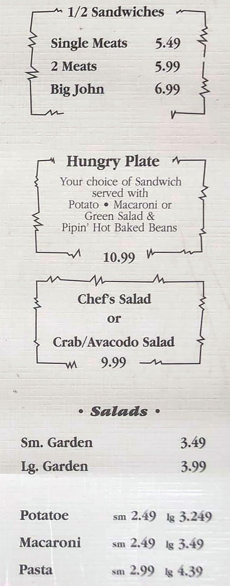 Grove Market & Deli menu - sandwiches, salads