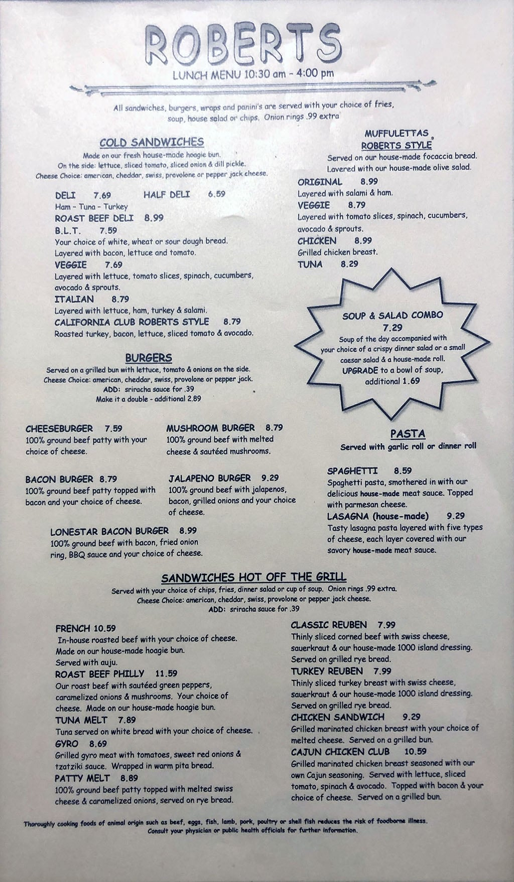 Roberts Restaurant & Deli menu - page one