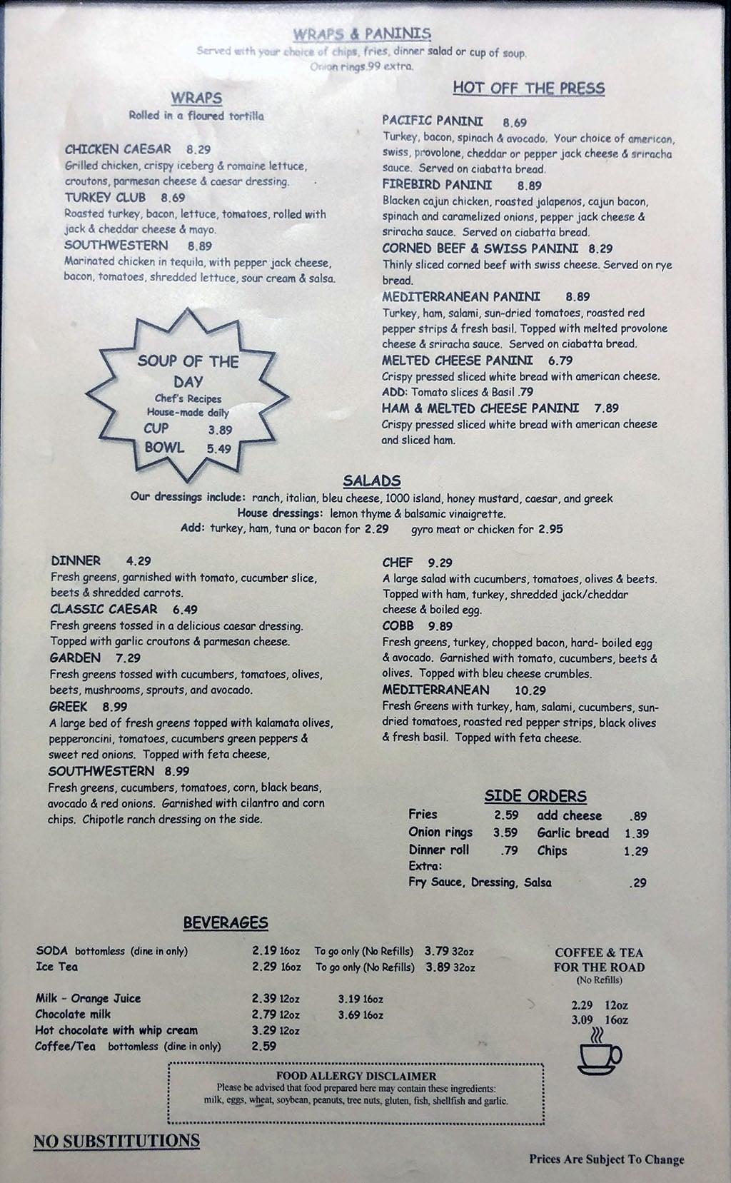 Roberts Restaurant & Deli menu - page two