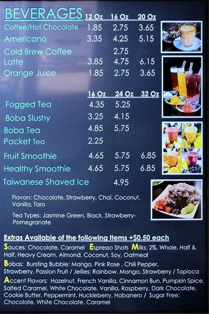 Annie's Cafe menu - beverages