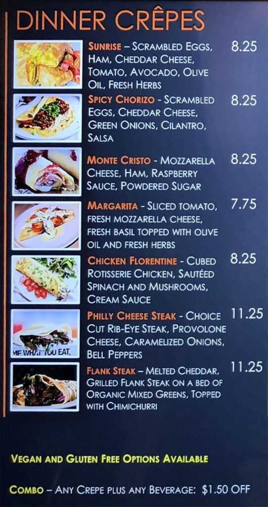 Annie's Cafe menu - dinner crepes