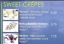 Annie's Cafe menu - sweet crepes