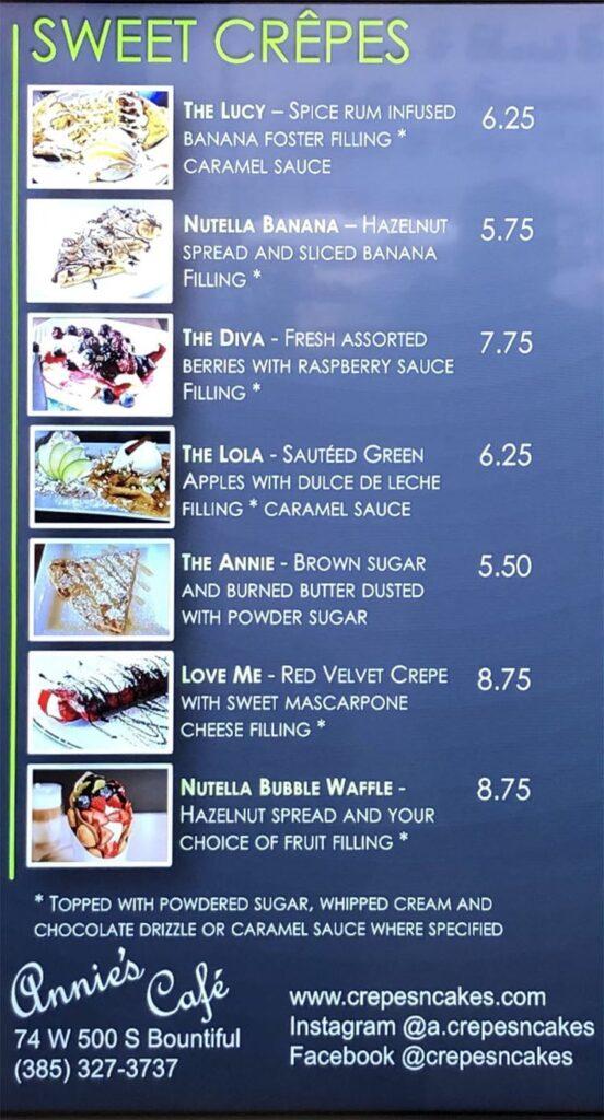 Annie's Cafe menu - sweet crepes