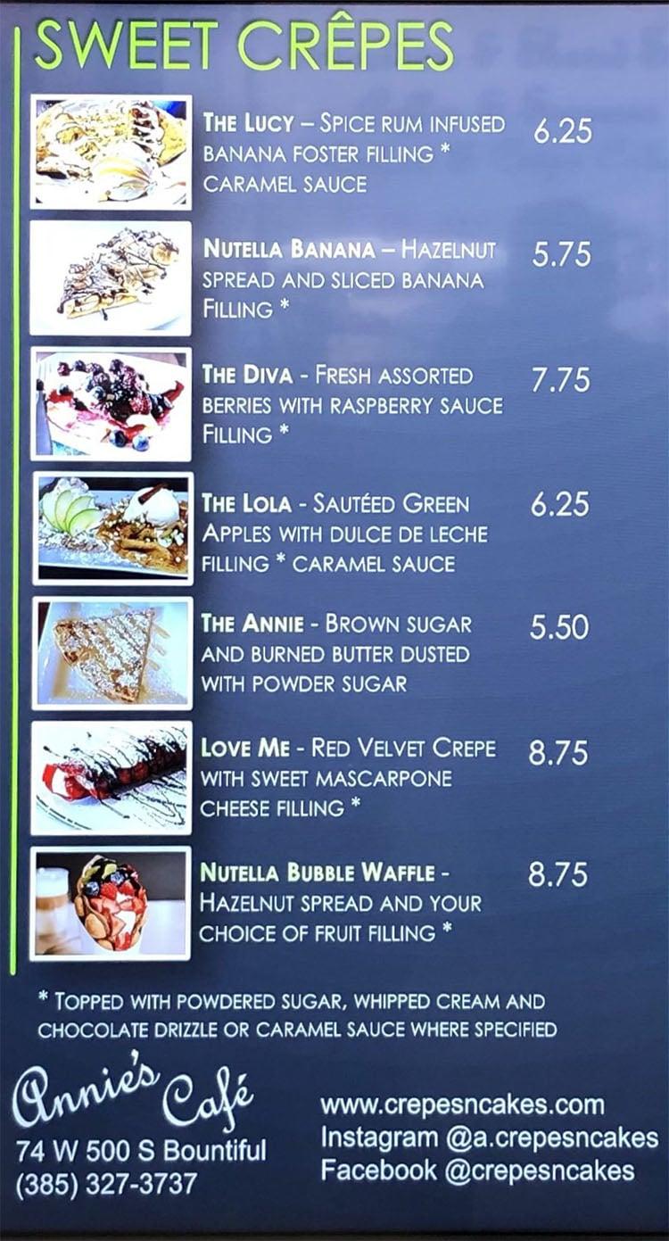 Annie's Cafe menu