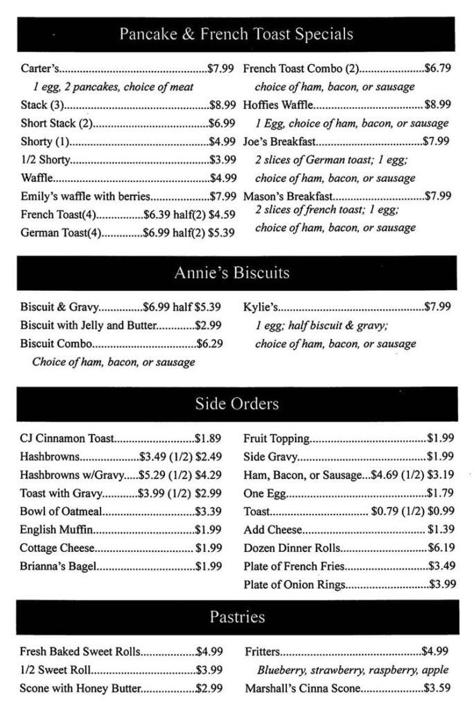 Annie's Diner menu - other breakfast