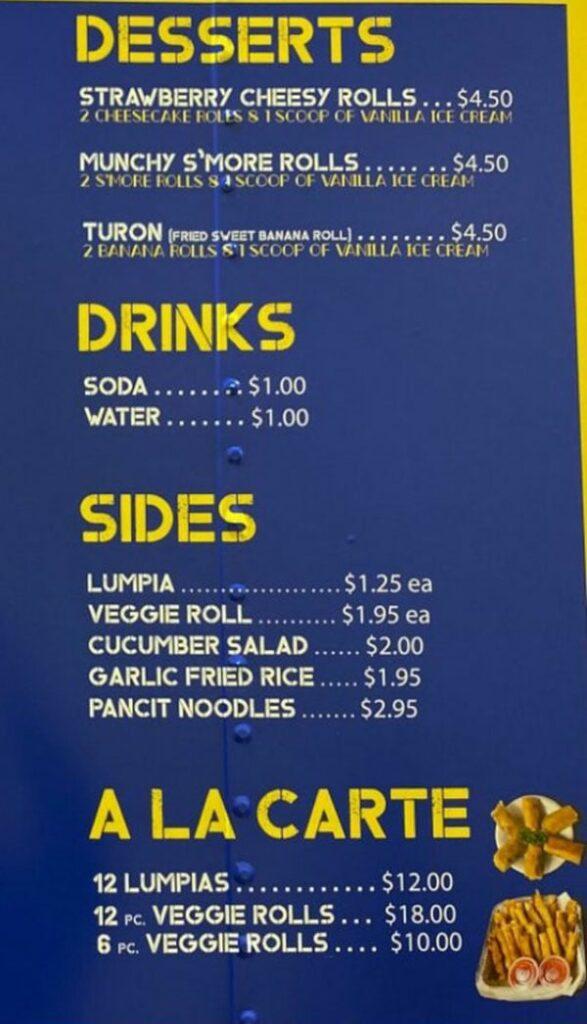 Crunchy Munchy food truck menu - desserts, drinks, sides, ala carte