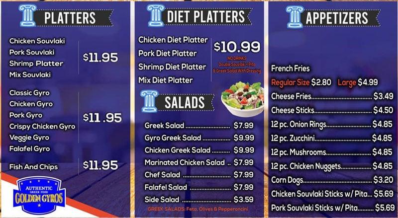 Golden Gyros menu - combos, burgers, sandwiches