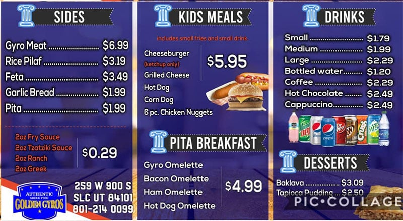 Golden Gyros menu - sides, kids, drinks, desserts
