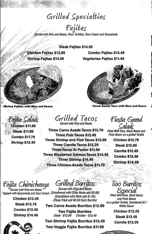 La Cocina menu - grilled specialties