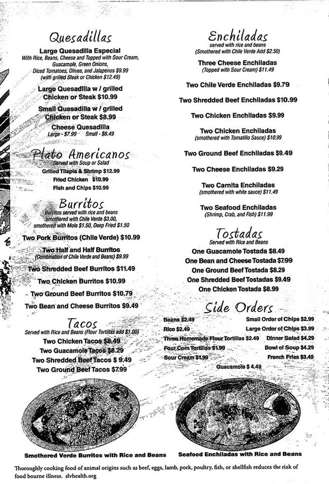 La Cocina menu - quesadillas, enchiladas, burritos, tacos, tostadas, sides