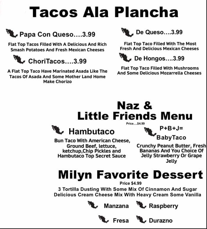 Taco Land menu - tacos ala plancha, kids, dessert