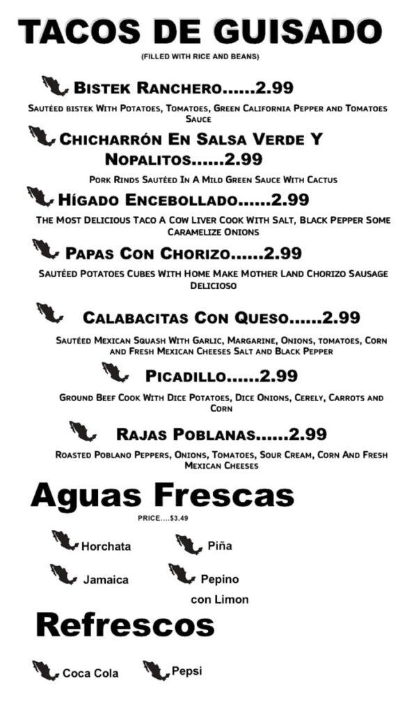 Taco Land menu - tacos de guisado