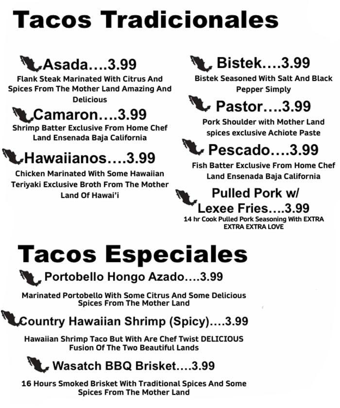 Taco Land menu - tacos tradicionales, tacos especiales