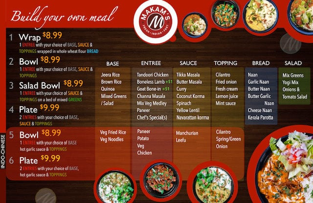 Makam's Kitchen menu - page one