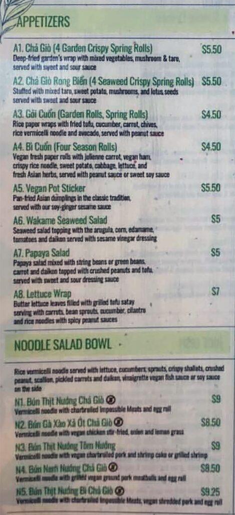 Saigon Vegan menu - appetizers, noodle salad bowl