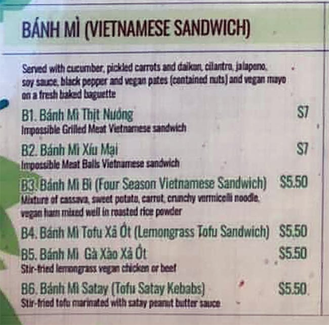 Saigon Vegan menu - banh mi sandwiches