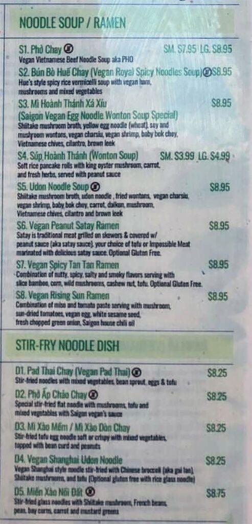 Saigon Vegan menu - noodle soup, stir fry noodle dish