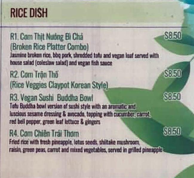 Saigon Vegan menu - rice dishes