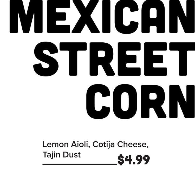 Sobe Eats menu - Mexican street corn