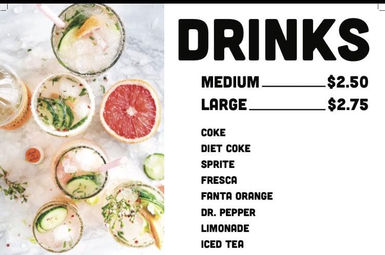 Sobe Eats menu - drinks